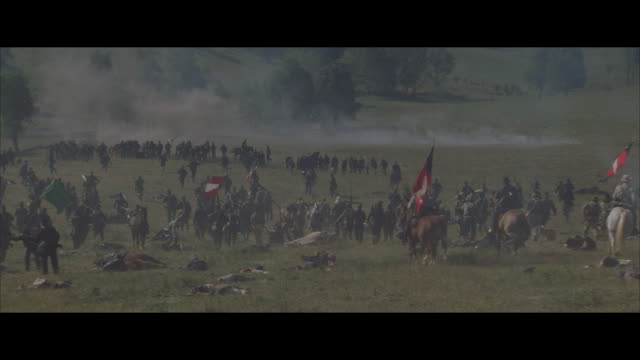 ms, reenactment american civil war battle - unionsarmén bildbanksvideor och videomaterial från bakom kulisserna