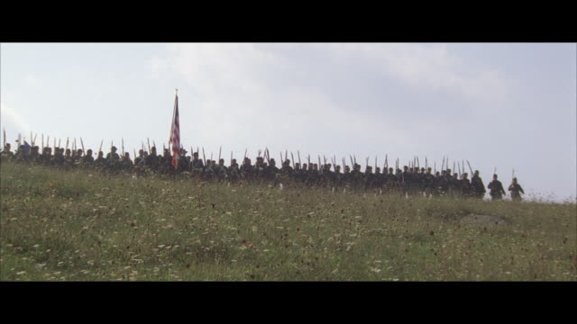 ms, reenactment american civil war soldiers marching across field - union army stock videos and b-roll footage