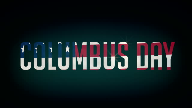 American Columbus Day flag,and typpography animation 4K