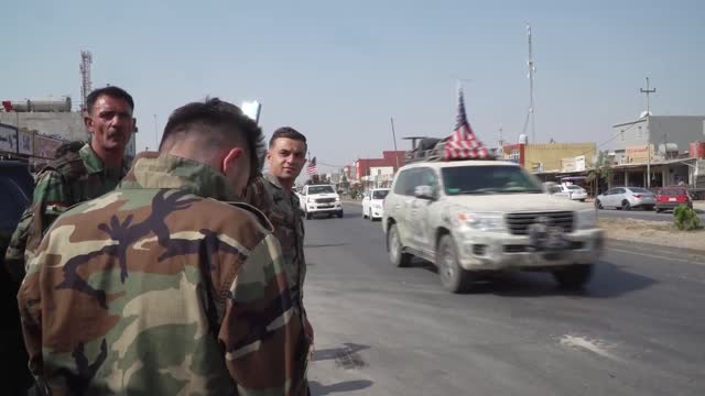 american convoy withdraws from syria during the trump administration in iraq on october 21, 2019. - iraq stock videos & royalty-free footage