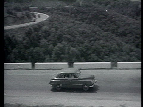 American delegation cars coming up driveway to beautiful mansion with delegation outside / Yalta Crimea AUDIO