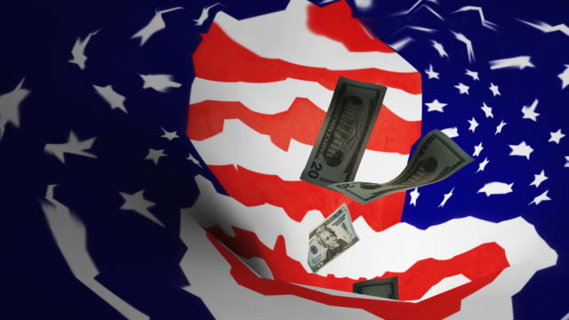 vídeos de stock, filmes e b-roll de cgi, american dollar bills falling into stars and stripes colored whirlpool - recessão