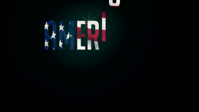 American Dream flag,and typpography animation 4K