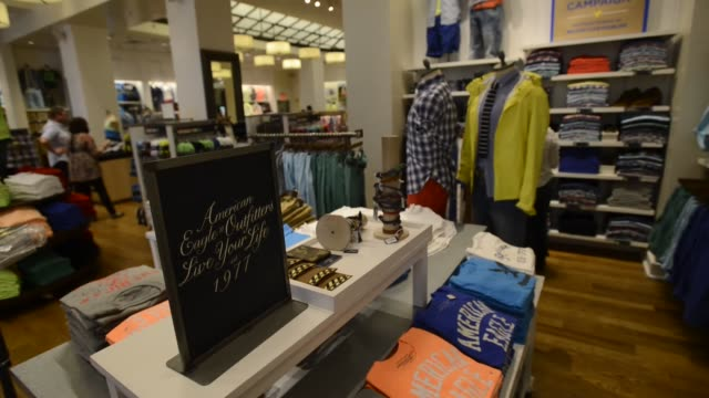 american eagle outfitters, interiors, products, customers american eagle outfitters on march 06, 2013 in san francisco, ca - american eagle outfitters stock videos & royalty-free footage