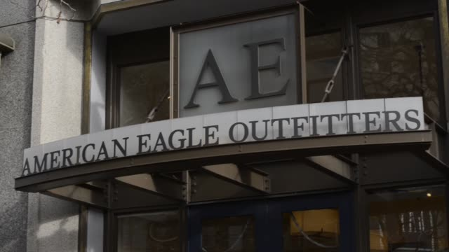 american eagle outfitters, signage, exteriors american eagle outfitters on march 06, 2013 in san francisco, ca - american eagle outfitters stock videos & royalty-free footage