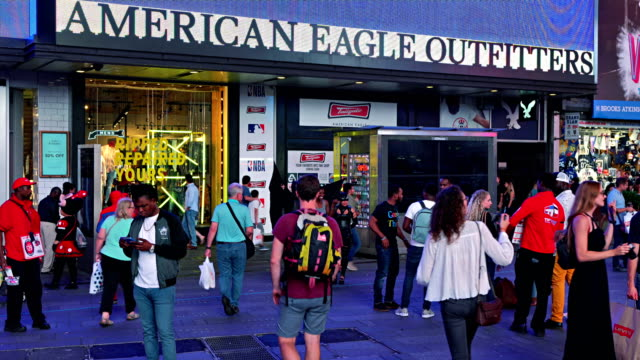 american eagle outfitters. time square - american eagle outfitters stock videos & royalty-free footage