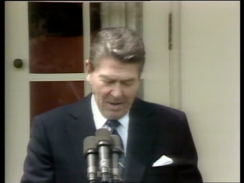 american embassy in beirut hit by car bomb; usa: washington: white house: ext ronald reagan press conference sot - as you know -- of the united... - ronald reagan us president stock videos & royalty-free footage