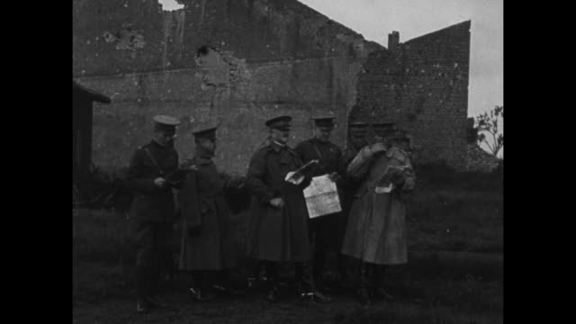 american expeditionary forces general john pershing and other officers examine german pillbox they begin walking away / pershing and officers in... - map marker stock videos and b-roll footage