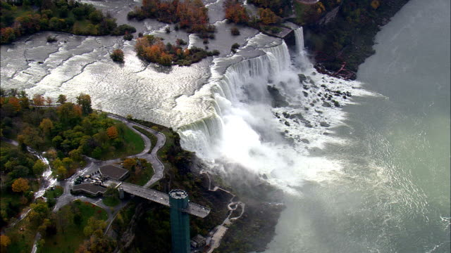 american falls,  usa - aerial view - new york,  niagara county,  united states - niagara falls stock videos & royalty-free footage