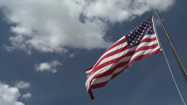 LA, CU, PAN, American flag against sky / Atlanta, Georgia, USA