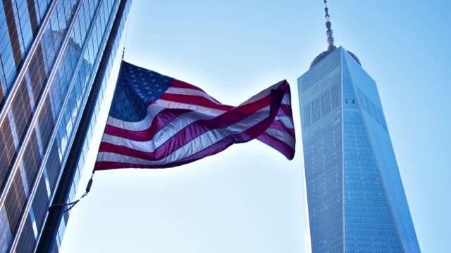 american flag and wtc - one world trade center stock videos & royalty-free footage