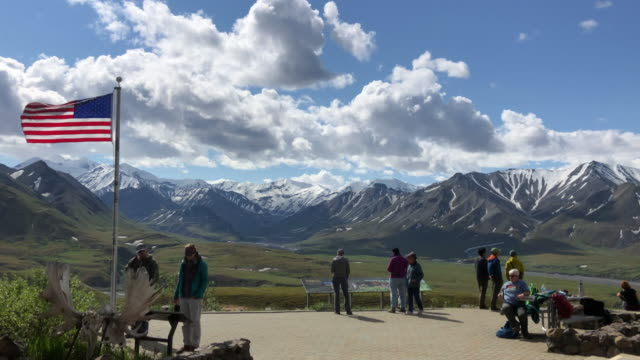 american flag at denali national park, alaska - national park stock videos & royalty-free footage