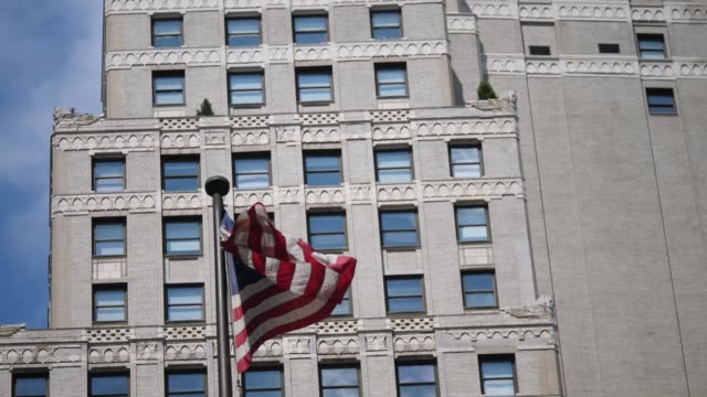 american flag at wall street - new york stock exchange stock videos & royalty-free footage