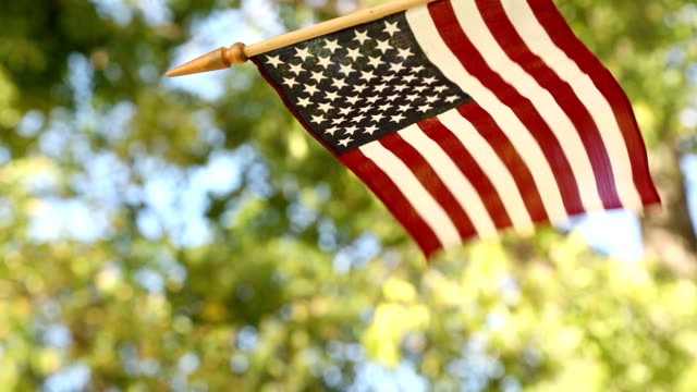 American flag blowing in summer breeze. Outdoors.