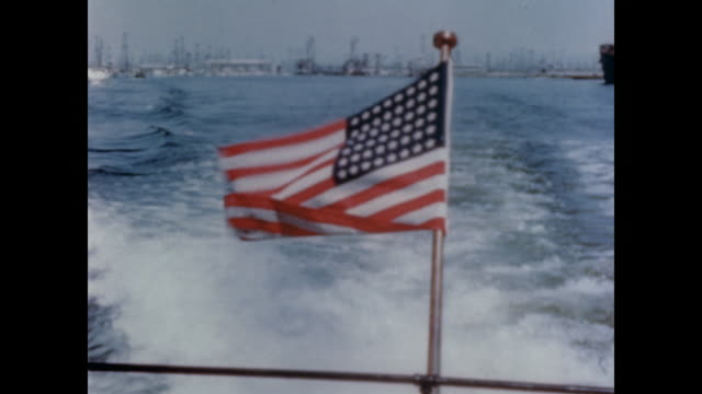 1947 American flag flaps in the breeze on the back of a boat