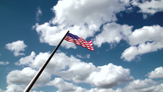 american flag hoisting or usa flag hoisting or memorial day flag hoisting - pole stock videos & royalty-free footage