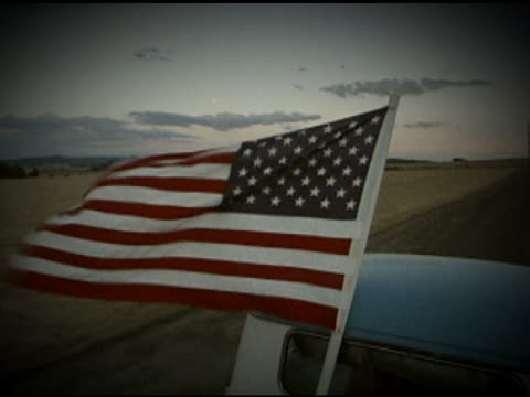 american flag in pick-up - pick up truck stock videos & royalty-free footage