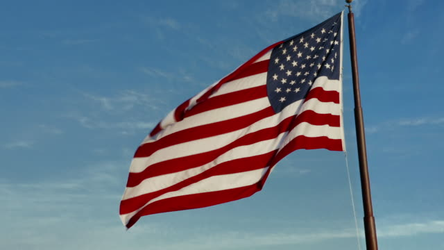 american flag majestically flying in the wind - patriotism stock videos & royalty-free footage
