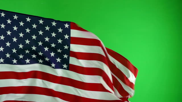 usa american flag on green screen, real video, not cgi - super slow motion - independence day - fourth of july - american flag stock videos and b-roll footage