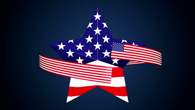 american flag on loop turning star. memorial day concept - top hat stock videos & royalty-free footage