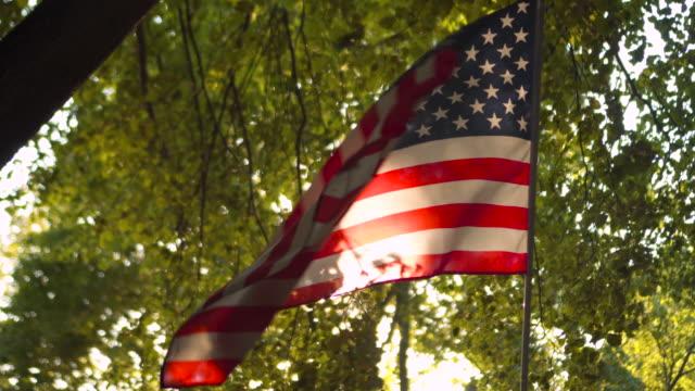 USA American Flag on sunset