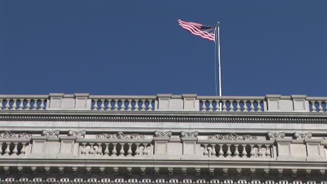 LA, MS, American flag on top of Library of Congress Building, Washington, DC, Washington, USA