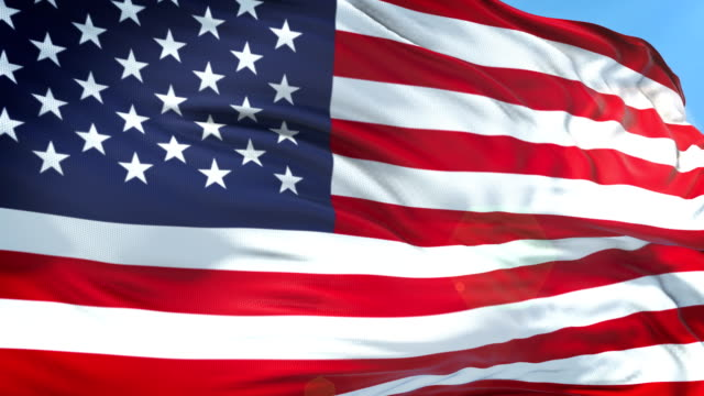 american flag - slow motion - 4k resolution - stati uniti d'america video stock e b–roll