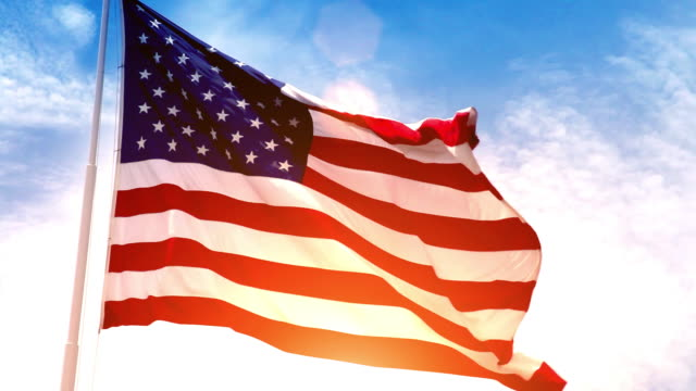 usa american flag - flag blowing in the wind stock videos & royalty-free footage