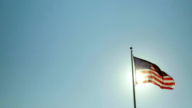 american flag - flag blowing in the wind stock videos & royalty-free footage