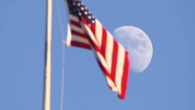 American flag waves in wind