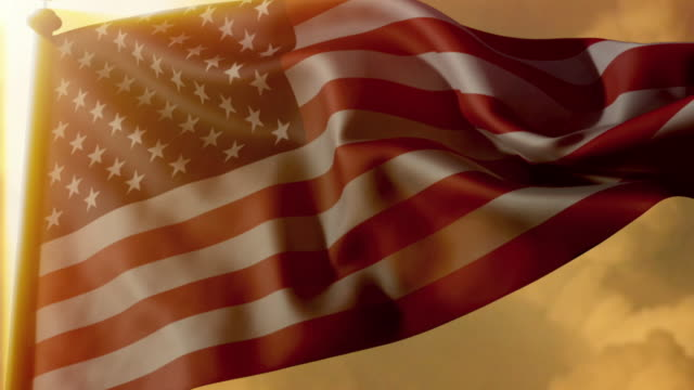 CGI LA CU American flag waving against a dramatic golden sky