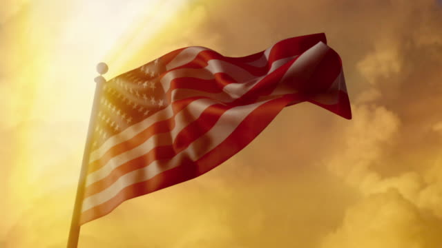 CGI CU American flag waving against a dramatic golden sky