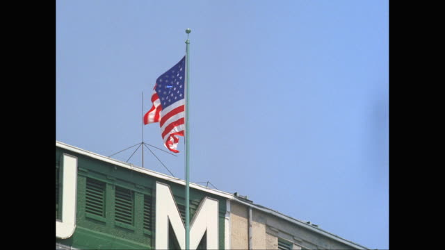 MS American flag waving at Yankee Stadium / New York City, New York State, United States