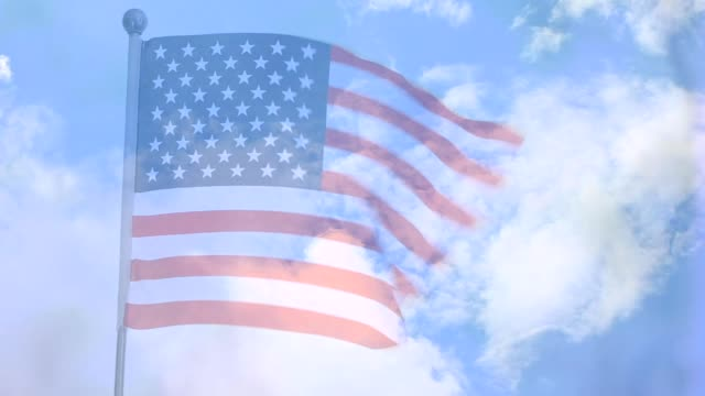 american flag waving in the breeze. - fade in stock videos & royalty-free footage