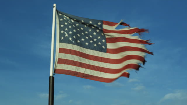 MS American flag waving in wind / Lehi, Utah, USA.