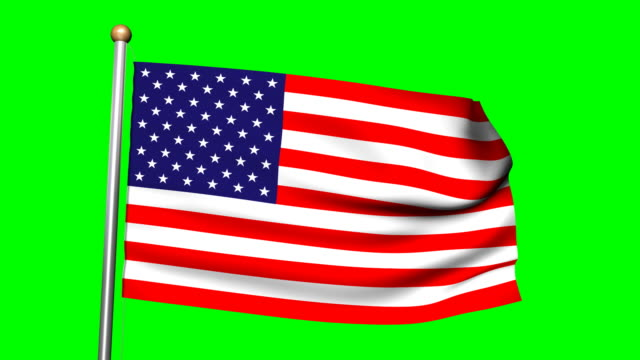 3D American  flag with green screen