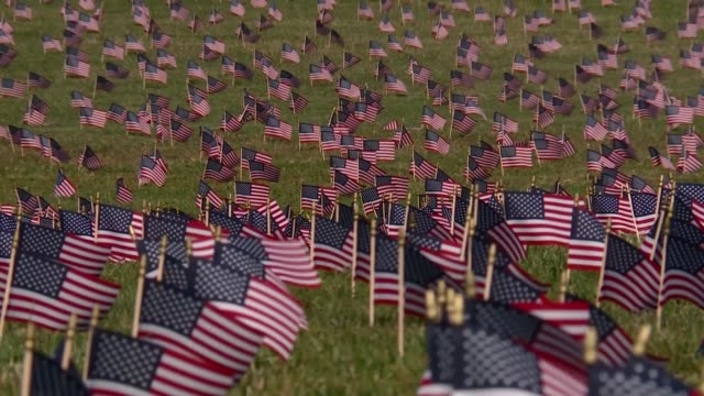 american flags decorate the national mall to represent the us victims of the pandemic - 追悼行事点の映像素材/bロール