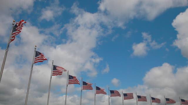 american flags in a row with clouds in washington, dc - washington dc stock videos & royalty-free footage