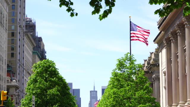 american flags shake by wind, which are raised over the fresh green trees at front of the metropolitan museum manhattan new york. - metropolitan museum of art new york city stock videos & royalty-free footage