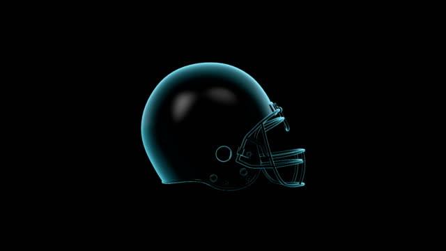 American Football Helmet rotating loop isolated with luma matte
