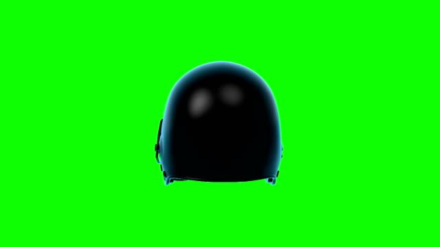 American Football Helmet rotating loop on green screen.