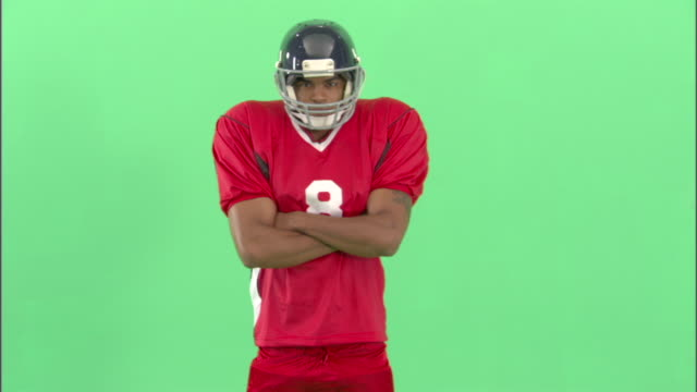 ms, american football player in studio, portrait - neenah stock videos & royalty-free footage