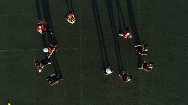 American football players on training