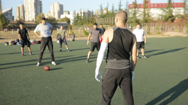American football team warming up