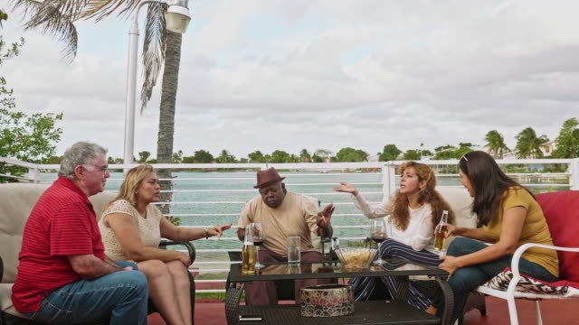 american friends celebrating holiday at outdoor party - biscayne bay stock videos & royalty-free footage