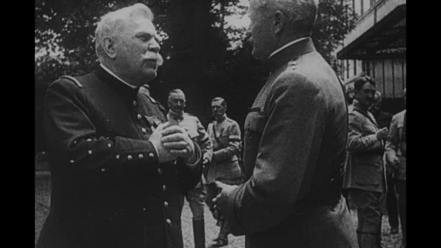 american general john j pershing chats with field marshal joseph joffre - field marshal stock videos and b-roll footage