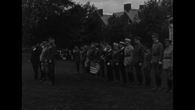 american general john pershing with medal on uniform / color guard with us flag, army flag and another flag standing in front of military officers,... - wwi tank stock videos & royalty-free footage