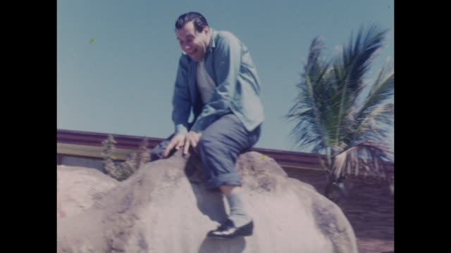 American home movie footage circa 1950 of a group of friends on vacation at the Sahara Motel on Miami Beach