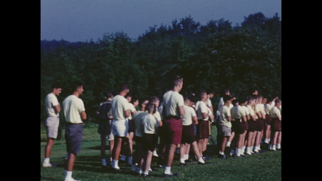 "american home movie footage circa 1950 of kids at ""camp towanda"". a summer camp in the pocono mountains of pennsylvania. - summer camp stock videos & royalty-free footage"