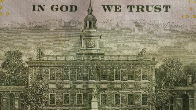 american hundred dollar bill showing independence hall - independence hall stock videos & royalty-free footage